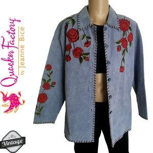 Vintage 90s Floral Embroidered Leather Jacket